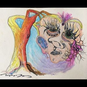 🎨🖋Oil pastels ink original abstract fantasy art